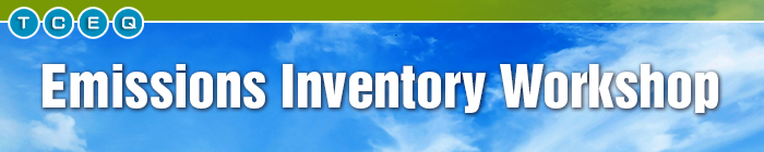 Banner for the Emissions Inventory Workshop featuring clouds