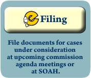 eFiling: File documents for cases under consideration at upcoming commission agenda meetings or at SOAH.