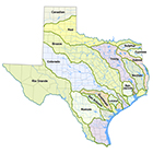 Maps of river basins in Texas