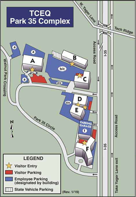 Map of TCEQ Park 35 Campus