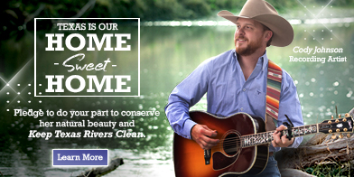 Recording star Cody Johnson with Texas is our Home Sweet Home with Take Care of Texas logo.