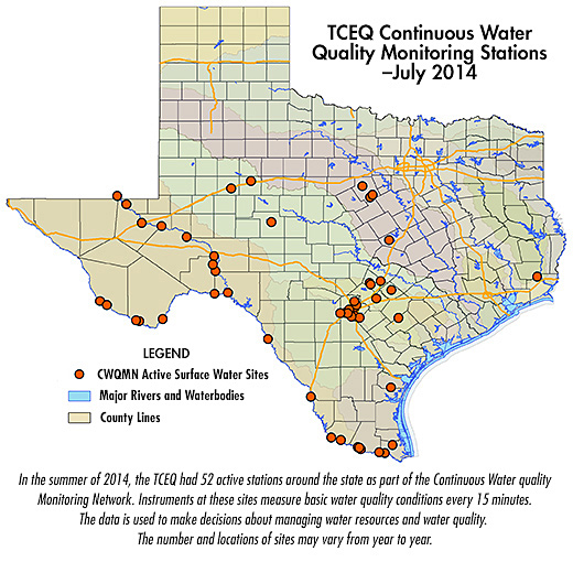 TCEQ Continuous Water Quality Monitoring Stations-July 2014 map