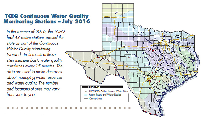 TCEQ Continuous Water Quality Monitoring Stations, July 2016 Map. In the summer of 2016, the TCEQ had 43 active stations around the state as part of the Continuous Water Quality Monitoring Network. Instruments at these sites measure basic water quality conditions every 15 minutes. The data are used to make decisions about managing water resources and water quality. The number and locations of sites may vary from year to year.