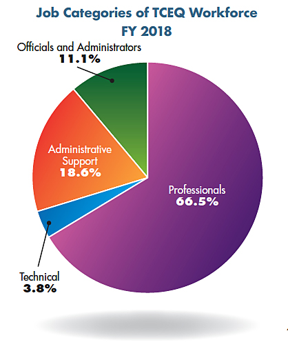 Pie chart: Job Categories of TCEQ Workforce, FY 2018. Professionals 66.5%, Technical 3.8%, Administrative Support 18.6%, and Officials and Administrator 11.1%.