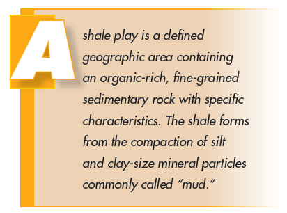 A shale play is a defined geographic area containing an organic-rich, fine-grained sedimentary rock with specific characteristics. The shale forms from the compaction of silt and clay-size mineral particles commonly called mud.