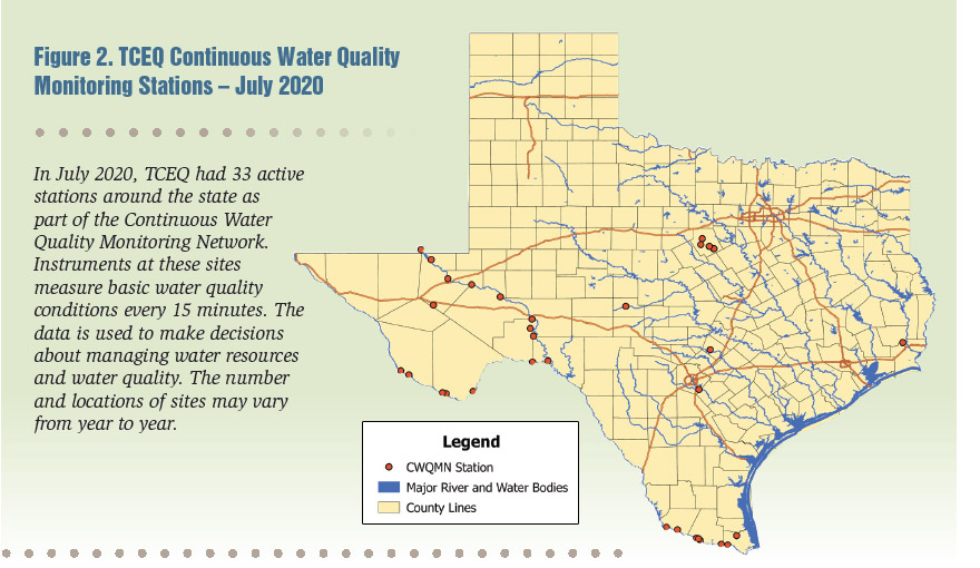 Figure 2. TCEQ Continuous Water Quality Monitoring Stations – July 2020. In July 2020, TCEQ had 33 active stations around the state as part of the Continuous Water Quality Monitoring Network. Instruments at these sites measure basic water quality conditions every 15 minutes. The data is used to make decisions about managing water resources and water quality. The number and locations of sites may vary from year to year.