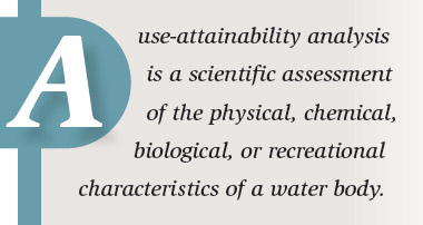 Use-attainability analysis is a scientific assessment of the physical, chemical, biological, or recreational characteristics of a water body.