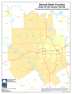 Map of Texas oil and gas wells