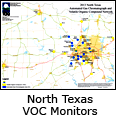 Map of North Texas VOC Air Monitors