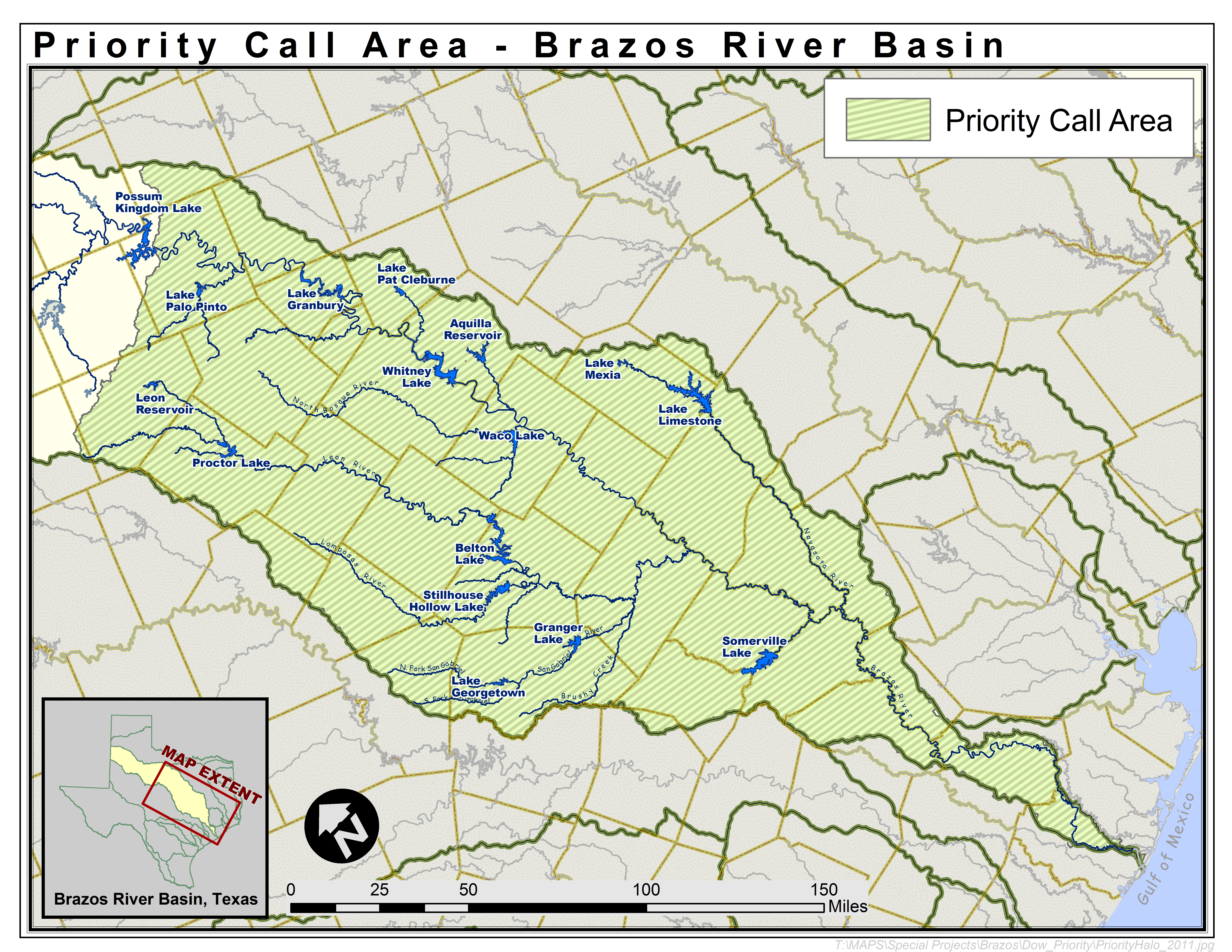 Map of the Brazos River Priority Call Area