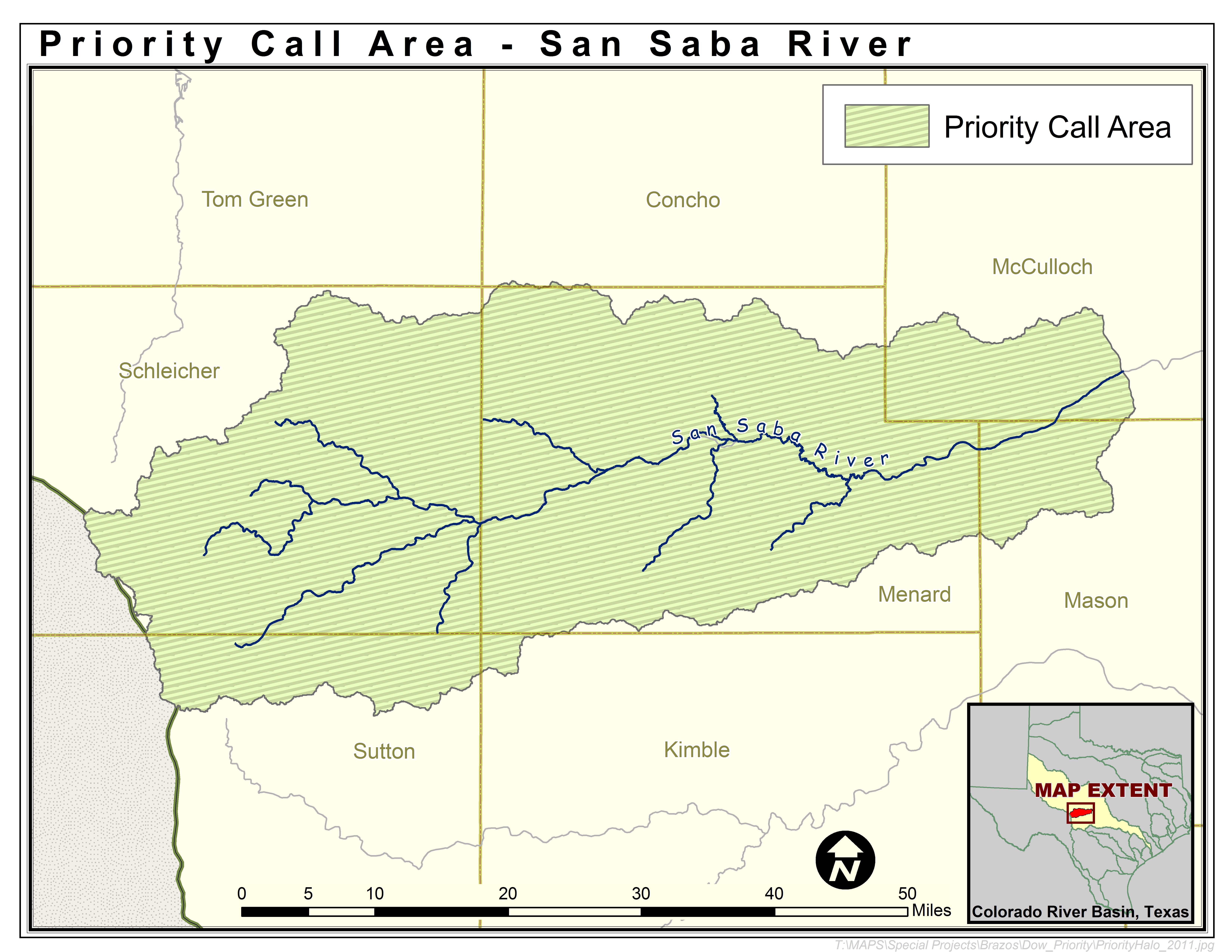 Map of the San Saba Watershed Priority Call Area