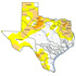 Map of current drought conditions in Texas