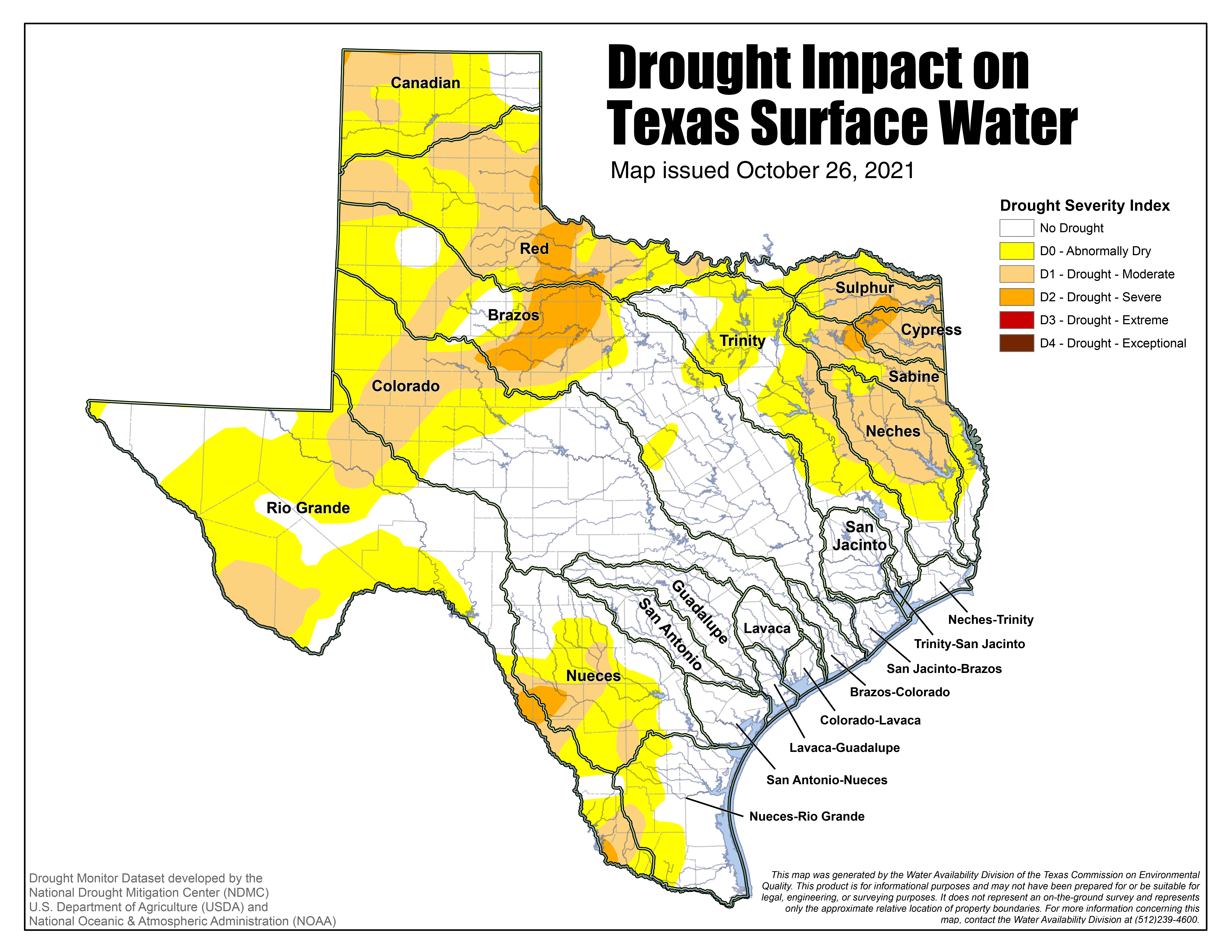 Map Of Drought Impact On Texas Surface