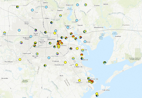 Map of TCEQ air monitors in the Houston area
