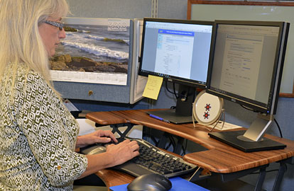 Records Management team member Marie Boren reviews a public information request via the TCEQ's internal software program called the Public Information Request Collaboration System, also known as PIRCS. Changes to the software program that automatizes some of the PIR process became active last September.