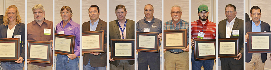 Representatives of ten different utilities from around the state received certificates of appreciation from TCEQ Commissioner Jon Niermann during the annual Public Drinking Water Conference on Aug. 7, 2018.