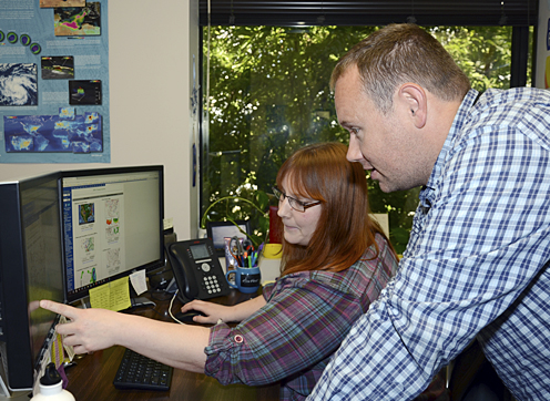 Copeland and Heather Wylie, the Monitoring Division's other meteorologist, frequently collaborate on their forecasts to ensure they are as accurate as can be.