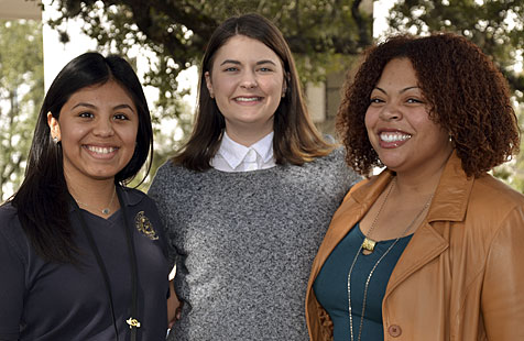 (Left to right) Yessenia Jaramillo, Jennifer Kirby, and Erika Crespo, three past Mickey Leland interns who are now working at the TCEQ to protect our state's air, water, and land resources.