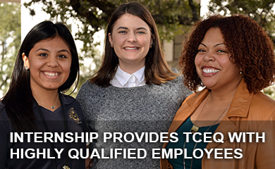 (Left to right) Yessenia Jaramillo, Jennifer Kirby, and Erika Crespo, three past Mickey Leland interns who are now working at TCEQ to protect our state's air, water and land resources.