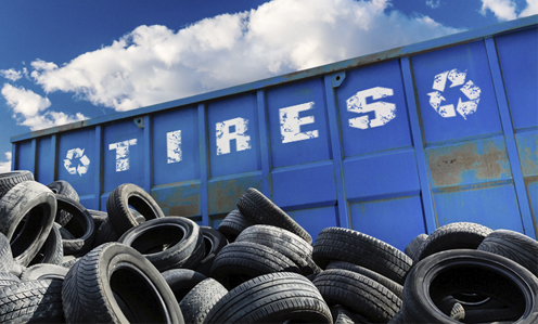 Tire recycling dumpster.