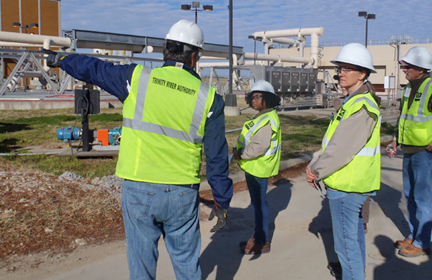 L to R: Kimberli Fowler, Alyssa Taylor, and Greg Diehl tour Central Regional Wastewater facility