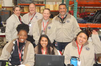Nicolle Bealle (back row on the left) and TCEQ staff at a large-scale emergency response event in Deer Park.