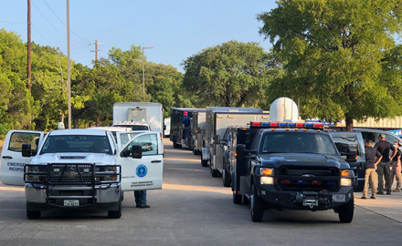 TCEQ's Emergency Management Support Team and the 6th Civil Support Team prepare to leave Austin to provide support to the agency's Beaumont Region..