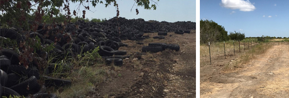 The Gatesville scrap tire pile and the area after cleanup