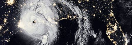 An aerial view of Hurricane Laura in the Texas Gulf Coast