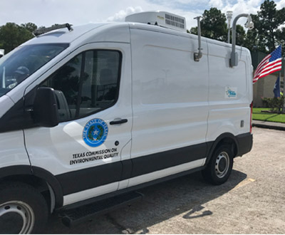Parked in front of TCEQ's Region 10-Beaumont office, which served as headquarters for TCEQ staff who were responding to Hurricane Laura, this new air monitoring van was used in the field for the first time following the storm.