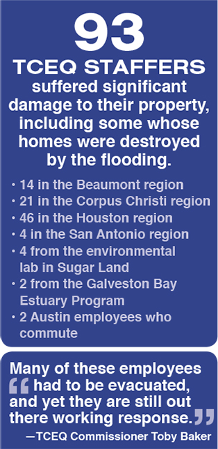 85 TCEQ Staffers suffered significant damage to their property, including some whose homes were destroyed by the flooding.