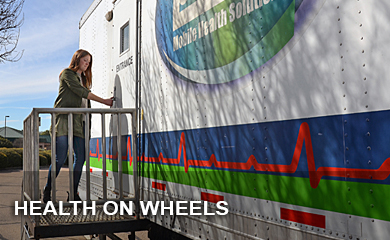 A converted semitrailer belonging to Professional Health Services is used to provide health-monitoring checkups for the TCEQ's environmental investigators at all 16 regional offices.