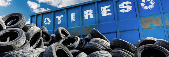 A large pile of scrap tires