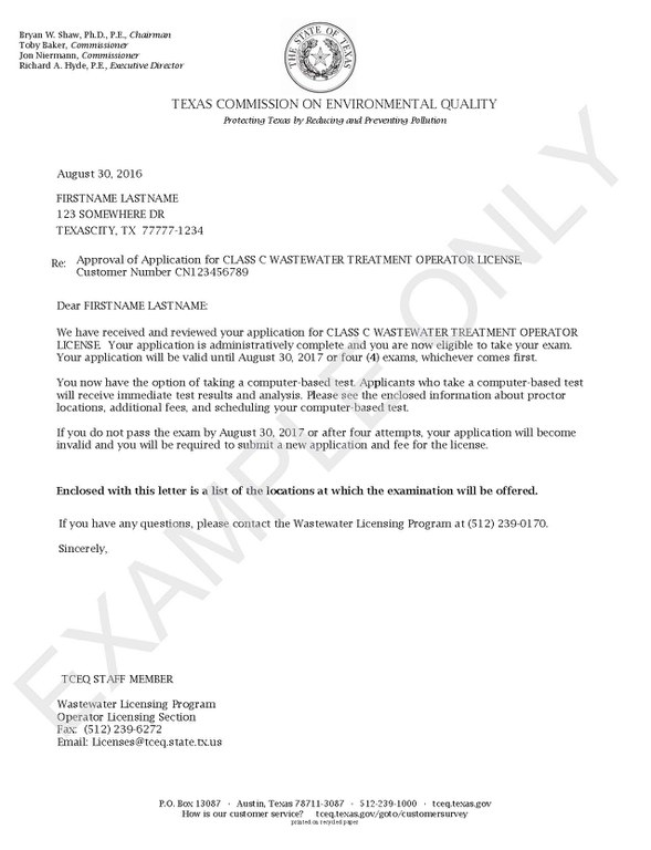 Sample Approval Letter