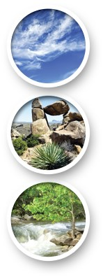 Three circles aligned vertically with blue skies, desert rock formation, and river rapids